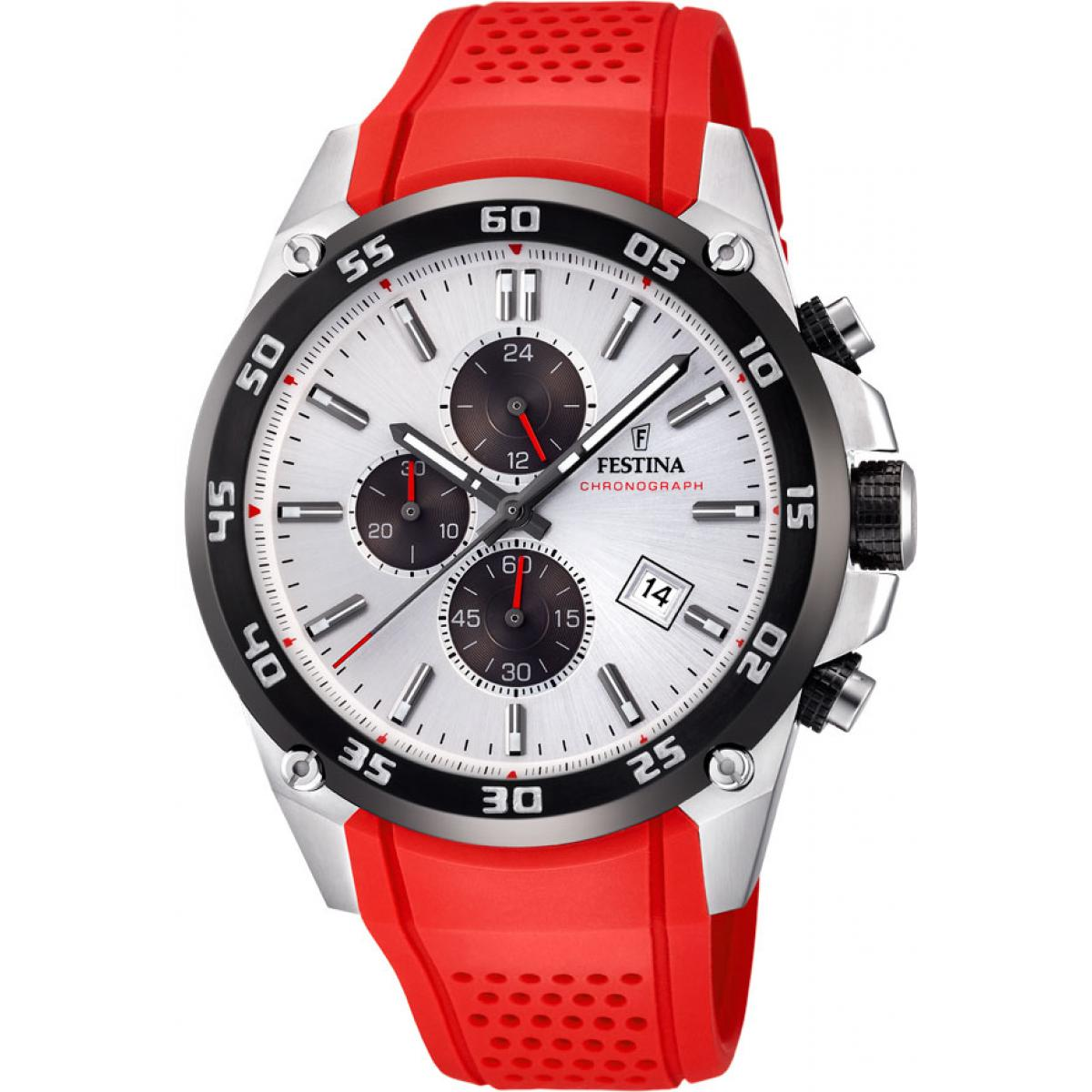 Montre Festina Originals F20330-1 - Montre Chronographe Résine Rouge Homme