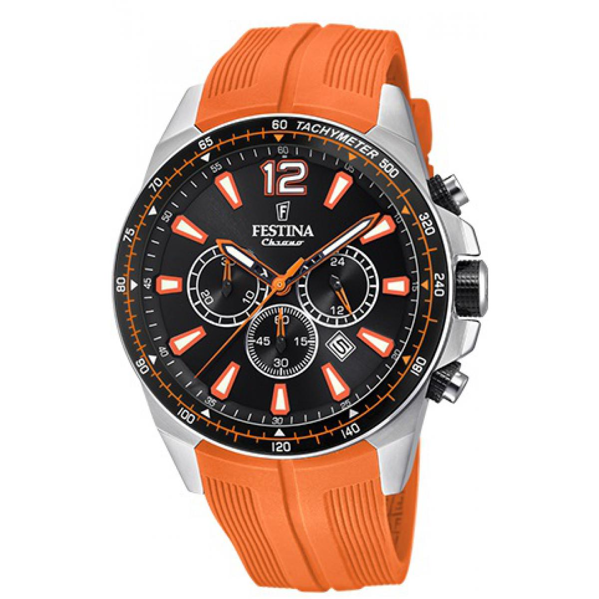 Montre Festina Originals F20376-5 - Montre Chronographe Dateur Orange Homme