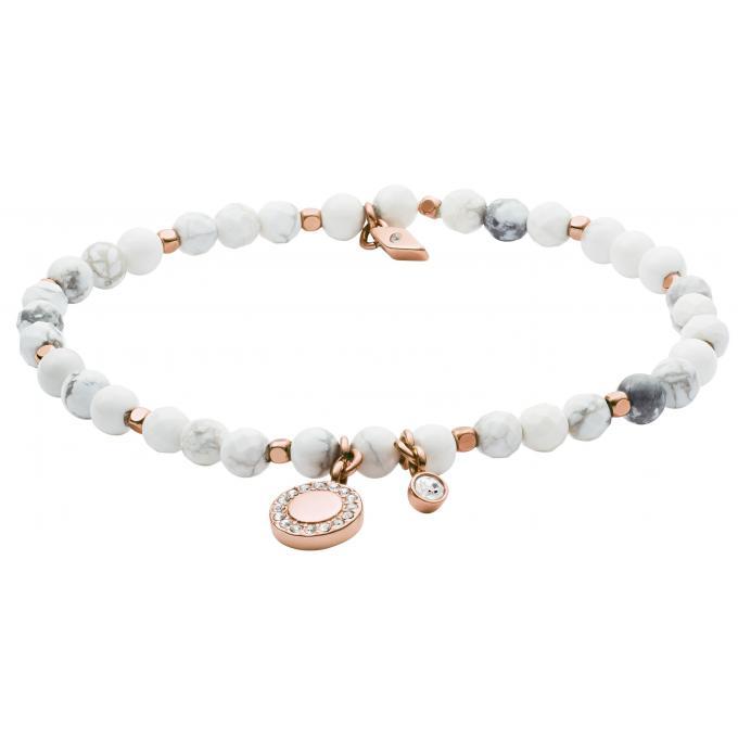 bracelet fossil bijoux ja6934791 bracelet perles blanches acier dor rose femme sur bijourama. Black Bedroom Furniture Sets. Home Design Ideas