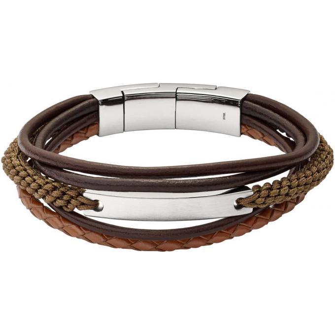Bracelet Fossil Bijoux JF02703040 , Bracelet Vintage Acier Cuir Homme