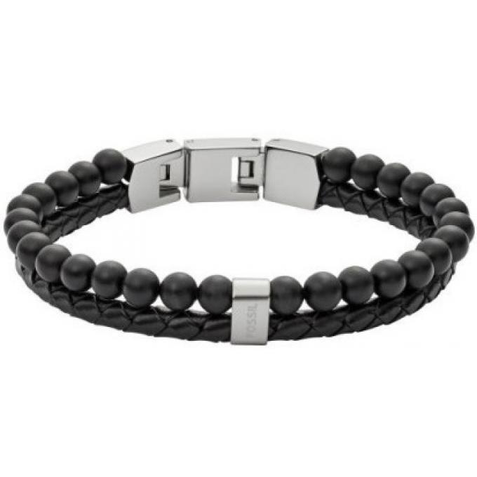 d36be790c1387 Bracelet Fossil Bijoux JF02763040 - Bracelet Cuir Acier Noir Homme ...