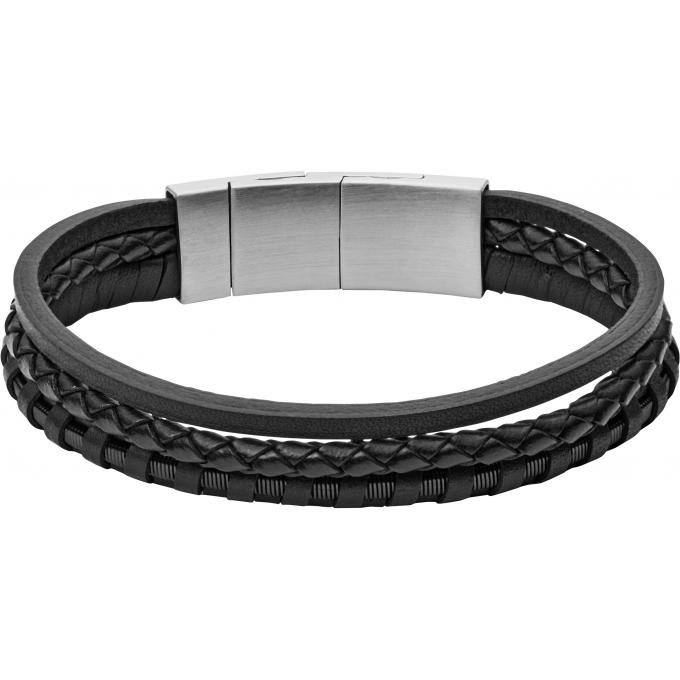 fa33ed319a5b2 Bracelet Fossil Bijoux JF02935001 - Bracelet Cuir Noir Homme sur ...