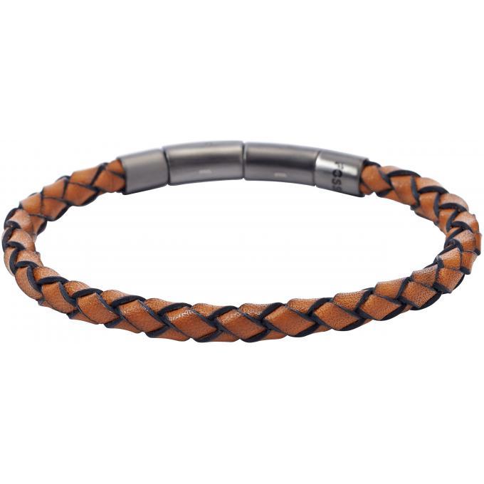 Bracelet fossil bijoux jf01669001 bracelet cuir tress 233 marron homme