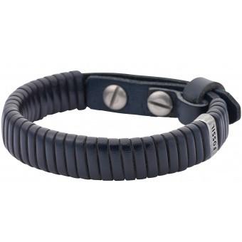 Bracelet Fossil Bijoux JA6509797 - Bracelet Bleu Cuir Tressé Homme