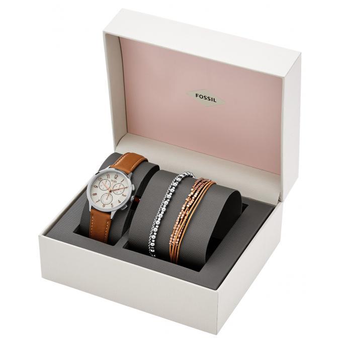 coffret montre fossil ch4001set montre cuir marron femme sur bijourama montre femme pas cher. Black Bedroom Furniture Sets. Home Design Ideas