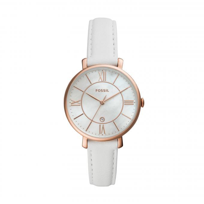 Montre Fossil JACQUELINE EC 1 ES4579 Bracelet Cuir Blanc Boîtier Acier Doré rose Femme Plus d'infos