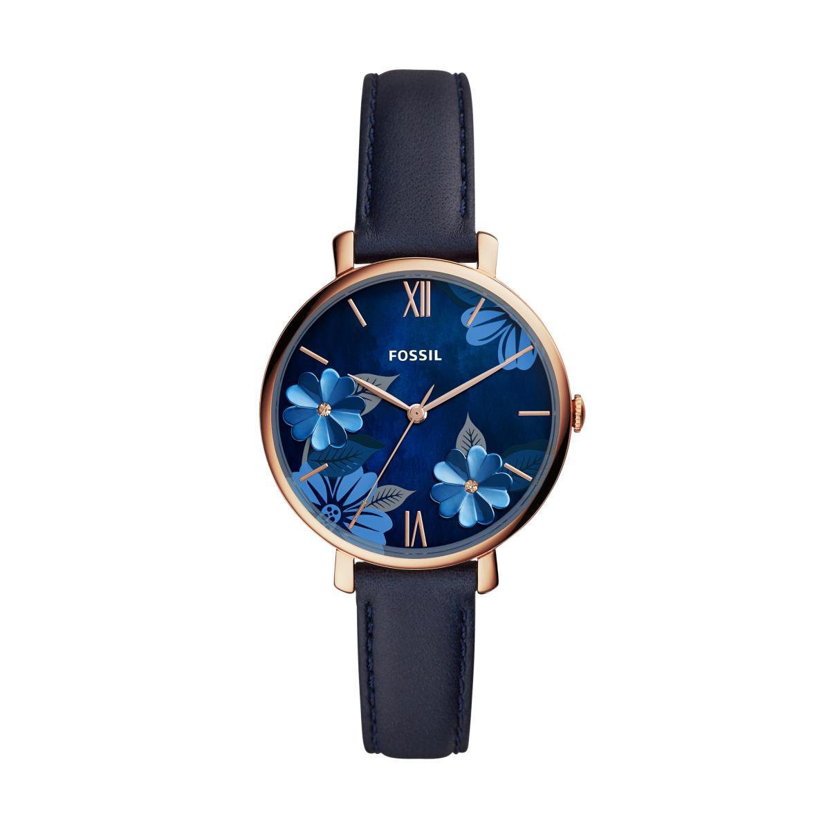 bracelet cuir fossil bleu