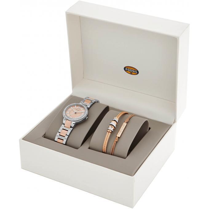 coffret montre et bracelet fossil es3697set montre strass bicolore tendance femme sur. Black Bedroom Furniture Sets. Home Design Ideas