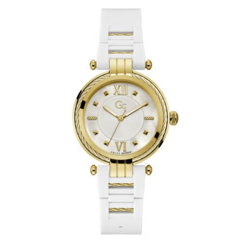 GC - Montre femme Guess Collection Y56007L1MF - Bracelet Silicone Blanc - Montre Guess Collection