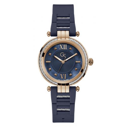 GC - Montre femme Guess Collection Y56008L7MF - Bracelet Silicone Bleu - Montre Guess Collection