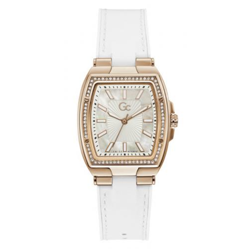 GC - Montre femme Guess Collection montres Y90004L1MF - Bracelet Cuir Blanc - Montre Guess Collection