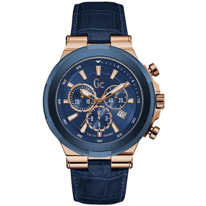 6df7a0e604 Montre GC Y23006G7 - Chronographe Structura Cuir Bleu Effet Croco Homme