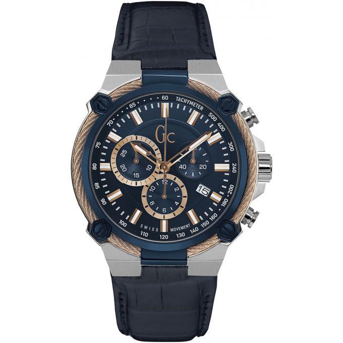 acheter en ligne baskets prix modéré Montre GC Gc Cable Force Y24001G7 - Montre Chronographe Silicone Bleue Homme