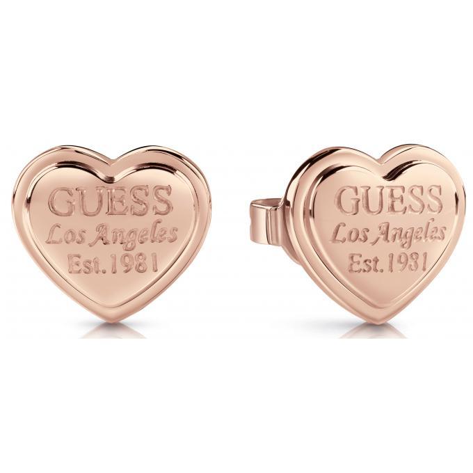 Boucles d oreilles Guess Bijoux UBE28010 - Acier doré rose cœur gravé Femme c6ab213a81ed