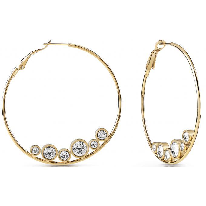 Boucles d oreilles Guess Bijoux UBE28100 - Créoles acier doré cristaux Femme b1ff516bac24