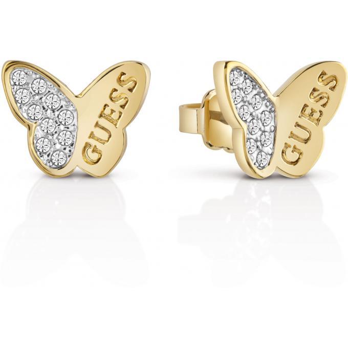 design intemporel df147 dcce2 Boucles d'oreilles Guess Mariposa UBE83021 - Boucles d'oreilles Papillons  Or Sertis Femme Plus d'infos