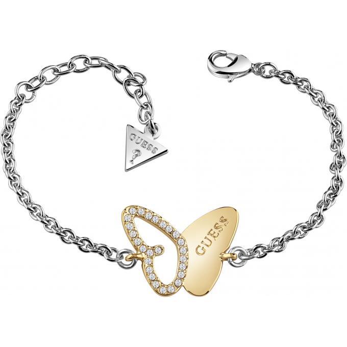 Guess Bijoux , Bracelet Papillon Or Serti Femme , Bracelet Guess Femme