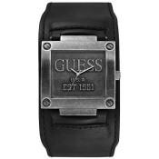 Montre Guess Montres Bracelet De Force Cuir Noir Acier Brossé W0418G2