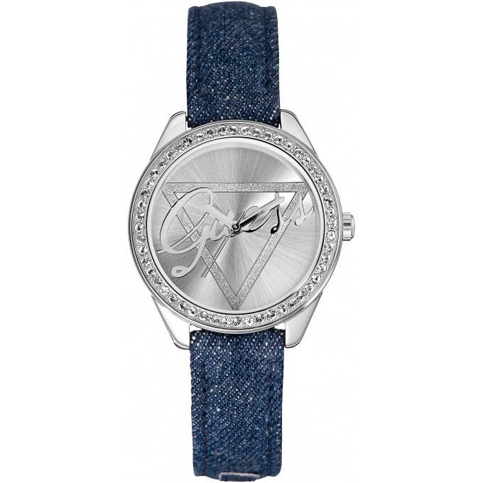 montre guess montre w0456l1 montre cuir jeans ronde bleue argent femme sur bijourama n 1 de. Black Bedroom Furniture Sets. Home Design Ideas