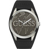 Montre Guess Montres Bracelet De Force Cuir Noir Acier Brossé W0481G1