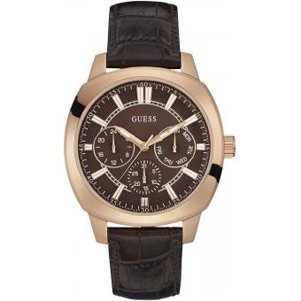 Montre Guess W0660G1 - Montre Or Rose Cuir Homme