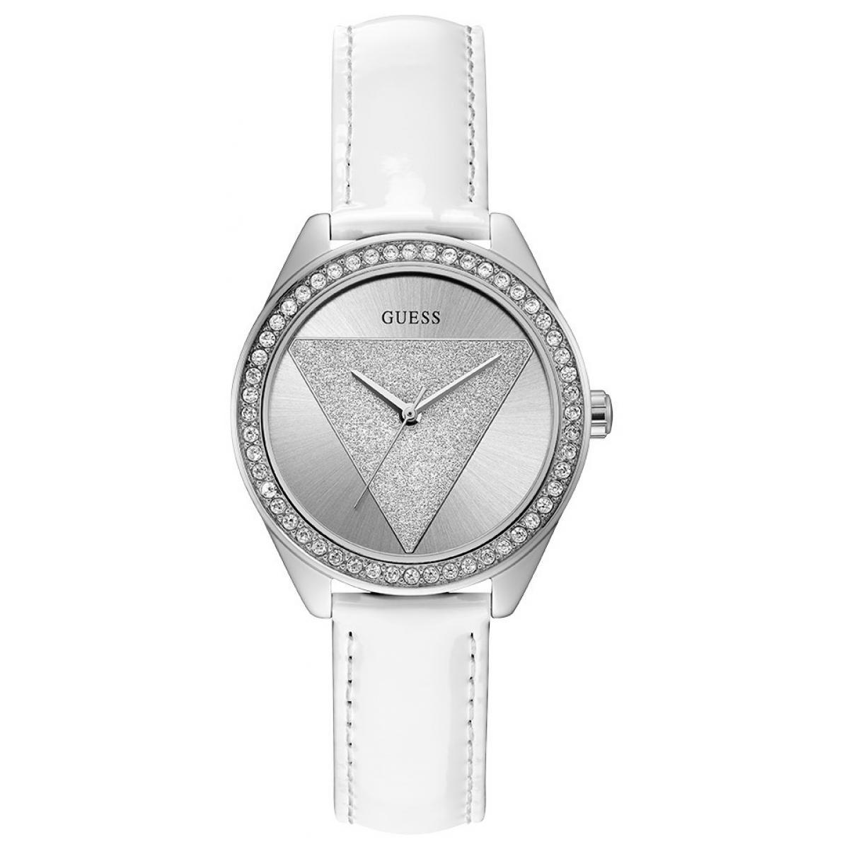 Montre Guess W0884L2 TRI GLITZ Cuir Blanc Acier Argenté Lunette Sertie Femme Plus d'infos