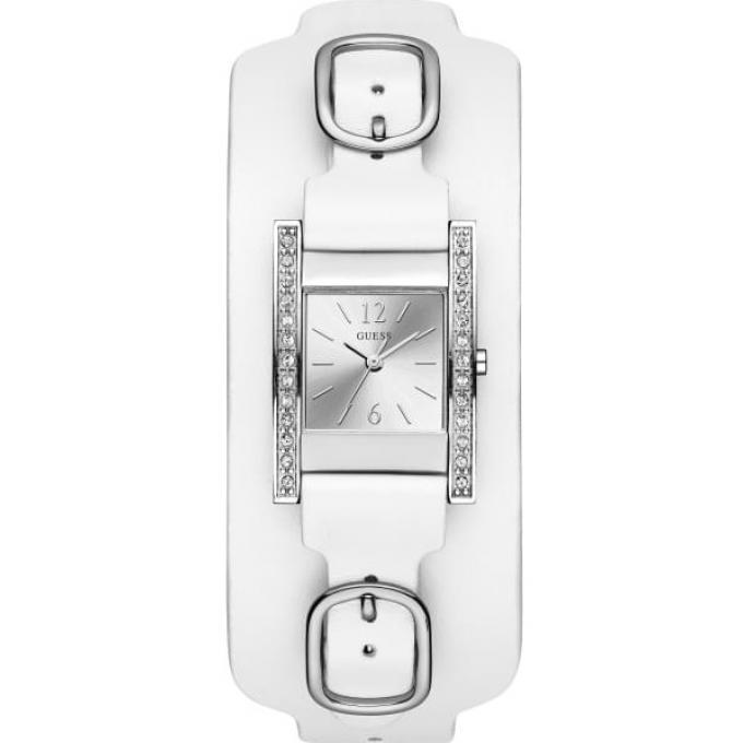 b77cd704cc Montre Guess W1136L1 - BUCKLE UP Boitier Acier Gris Bracelet Cuir Blanc  Cadran Blanc Femme