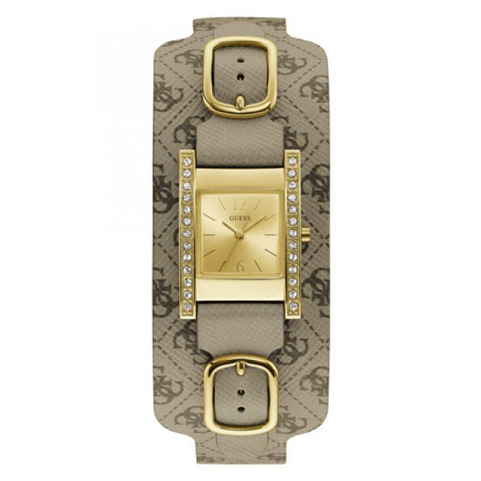 14af2cb423c90 Montre Guess W1136L6 - Montre Cadran Acier Or Cristaux Bracelet Cuir Femme