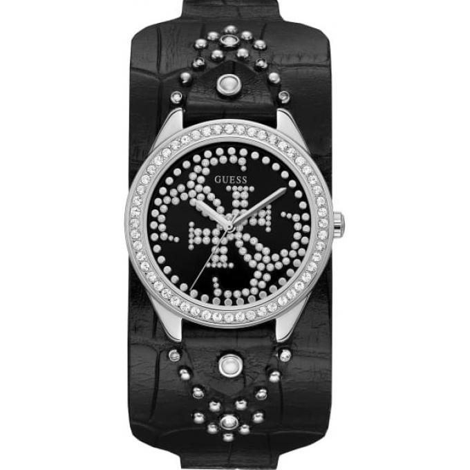 494a79dd64 Montre Guess W1140L1 - HEARTBREAKER Boitier Acier Gris Bracelet Cuir Noir  Cadran Noir Femme