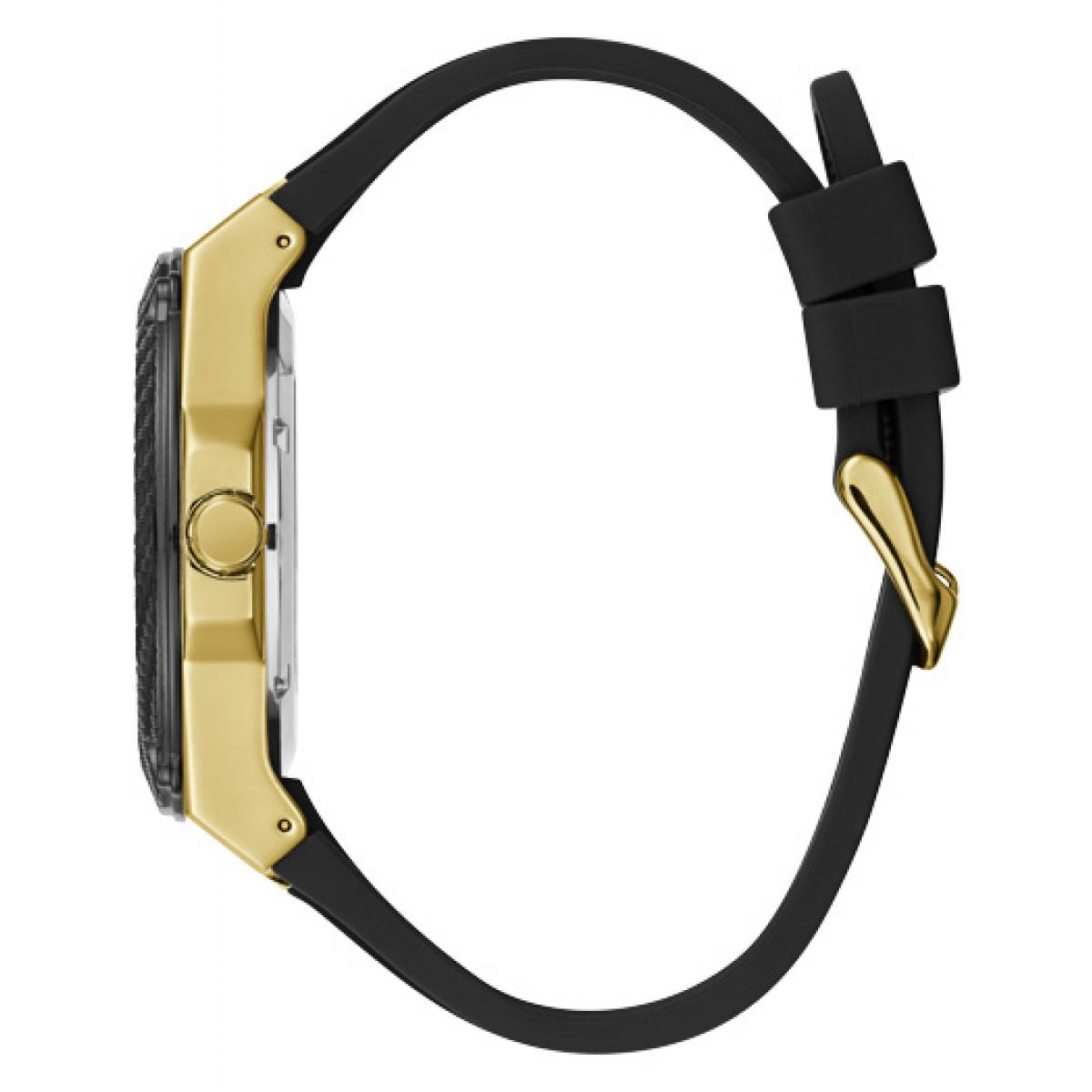 Montre Guess LEGACY W1049G5 Montre Multifonctions Boitier Acier Or Bracelet Silicone NOir Homme Plus d'infos