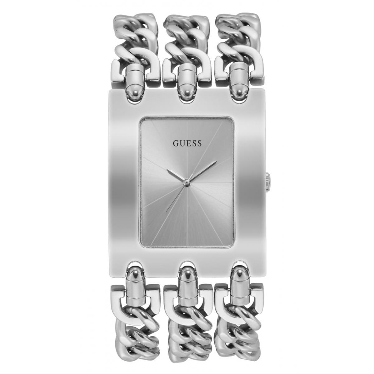 Montre Guess W1274L1 HEAVY METAL Boîtier acier brillant cadran argenté bracelet multi chaines acier brillant G Link 55 (1 avis)