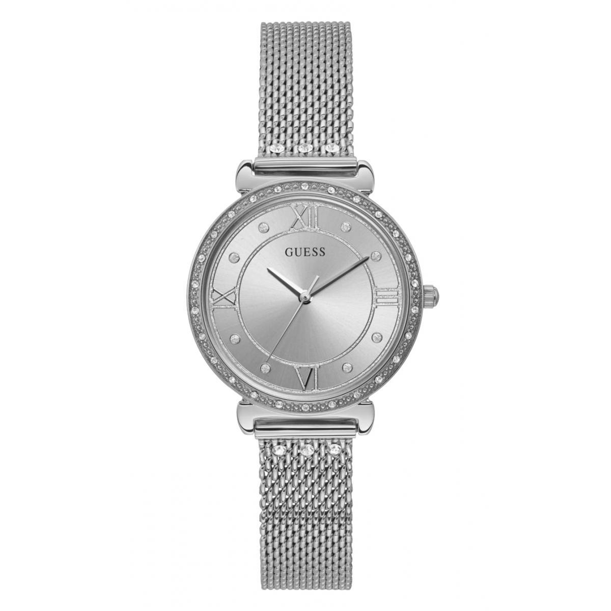 Montre Guess W1289L1 JEWEL Boîtier acier brillant avec cristaux cadran argenté avec cristaux bracelet maille milanaise acier avec cristaux Femme