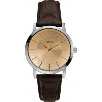 Montre Guess Cadran Cuivre Bracelet Cuir Essential W0191G2 - Homme