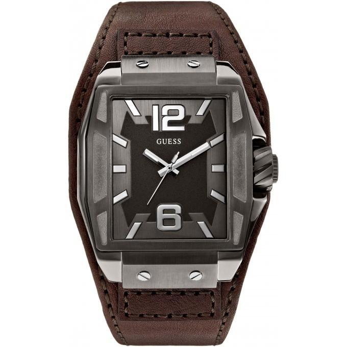 montre guess w0267g1 montre cuir marron rectangulaire homme sur bijourama n 1 de la montre. Black Bedroom Furniture Sets. Home Design Ideas