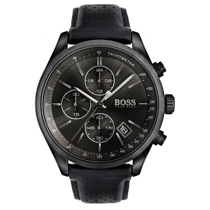 montre hugo boss 1513474 montre chronographe cuir noir homme sur bijourama montre homme pas. Black Bedroom Furniture Sets. Home Design Ideas
