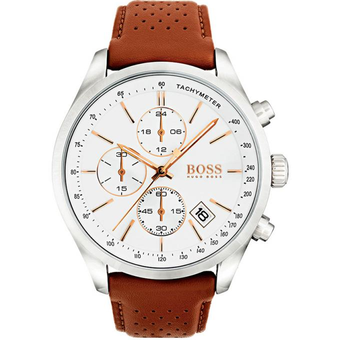 montre hugo boss 1513475 montre chronographe cuir marron homme sur bijourama montre homme. Black Bedroom Furniture Sets. Home Design Ideas