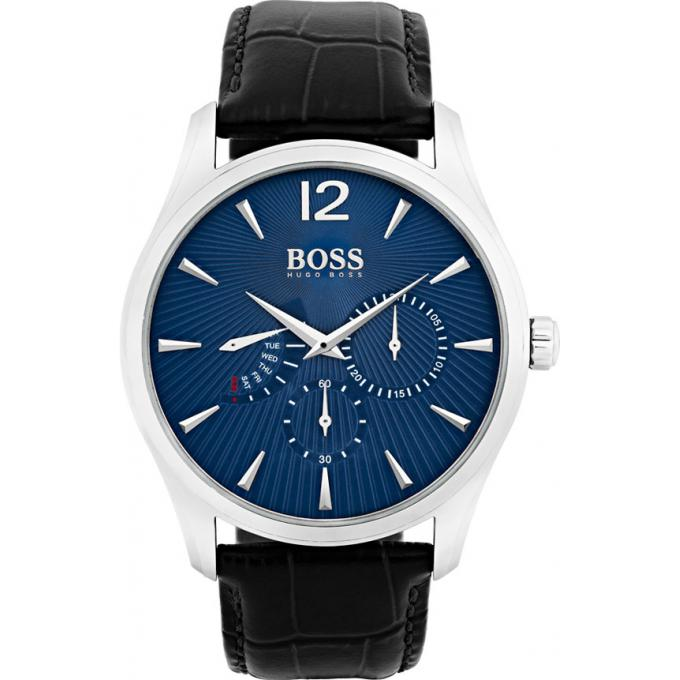 montre hugo boss 1513489 montre cuir cadran bleu homme sur bijourama montre homme pas cher. Black Bedroom Furniture Sets. Home Design Ideas