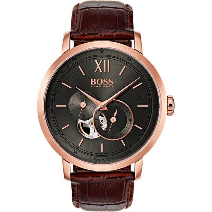 montre hugo boss 1513506 montre automatique cuir marron homme sur bijourama montre homme pas. Black Bedroom Furniture Sets. Home Design Ideas