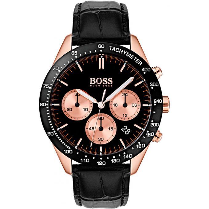78b01c5ccec87 Montre Hugo Boss 1513580 - Montre Cuir Noir Boitier Acier Homme sur ...