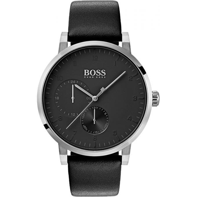 28e6360d2df97 Montre Hugo Boss 1513594 - Montre Cuir Noir Boitier Acier Argenté Homme