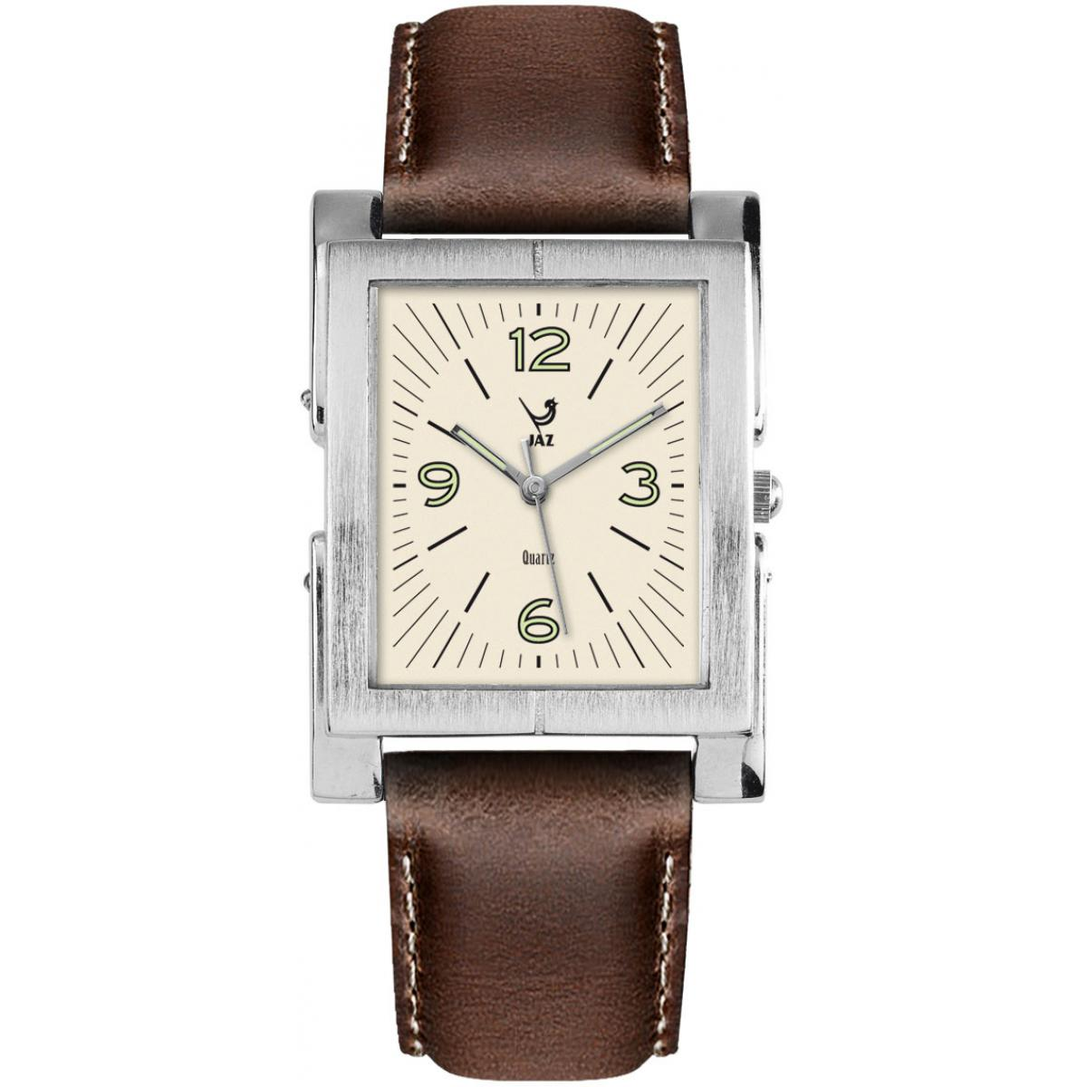 Montre Jaz Esthetic JZ104/3 - Montre Rectangulaire Marron Cuir Homme