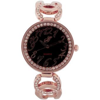 Montre Jean Bellecour Yellow Stone A145-3 - Montre Doré Rose Cristaux Femme