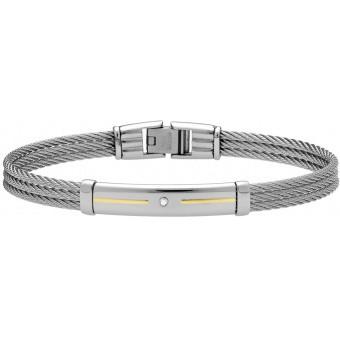 Bracelet Jourdan FZ143H - Bracelet Acier Tressé Strass Homme