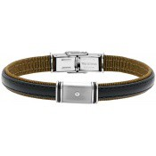 Bracelet Jourdan Cuir Noir Diamant FZ194H