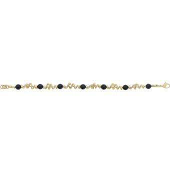 Bracelet Jourdan JS633 - Bracelet Laiton Doré Noir Femme