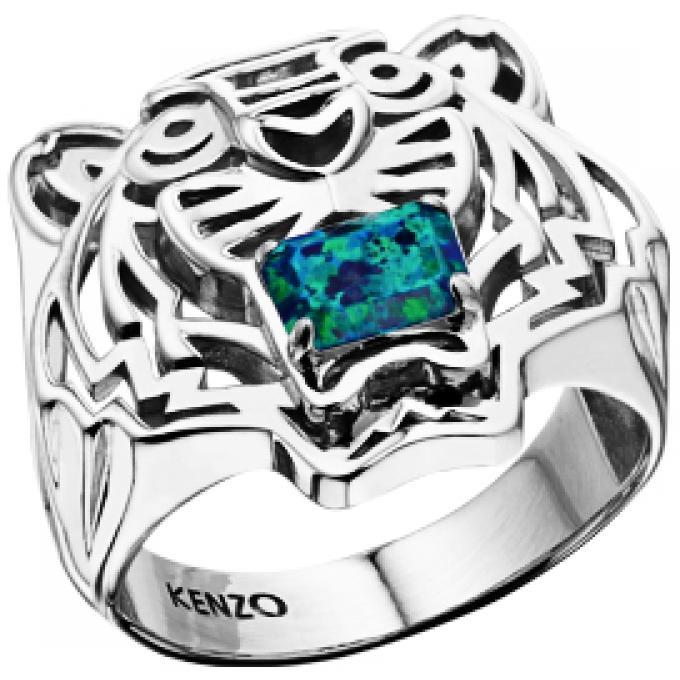 Bague Kenzo Tiger Stone 702638311020 , Bague Opale Bleu Femme