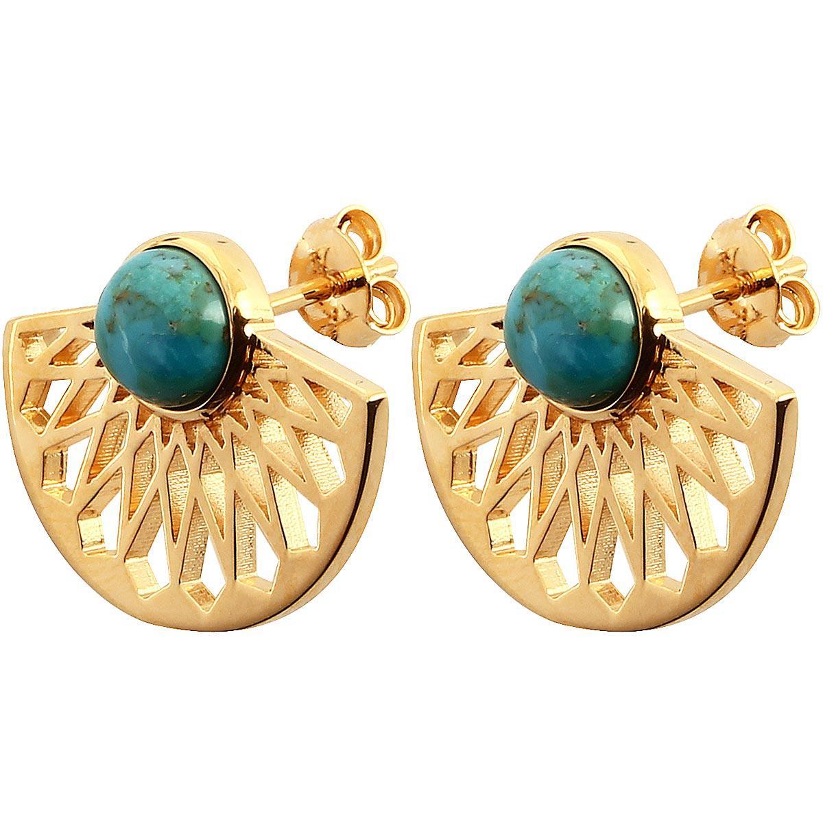 Boucles d'oreilles Mia Doré & Turquoise