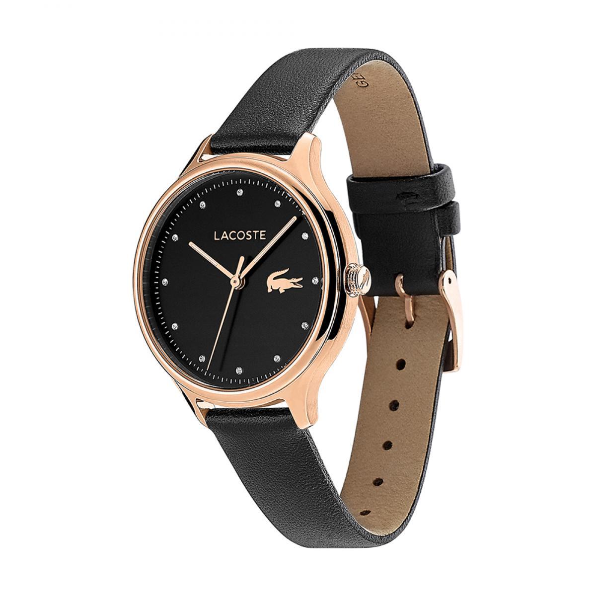 montre femme noire bracelet cuir