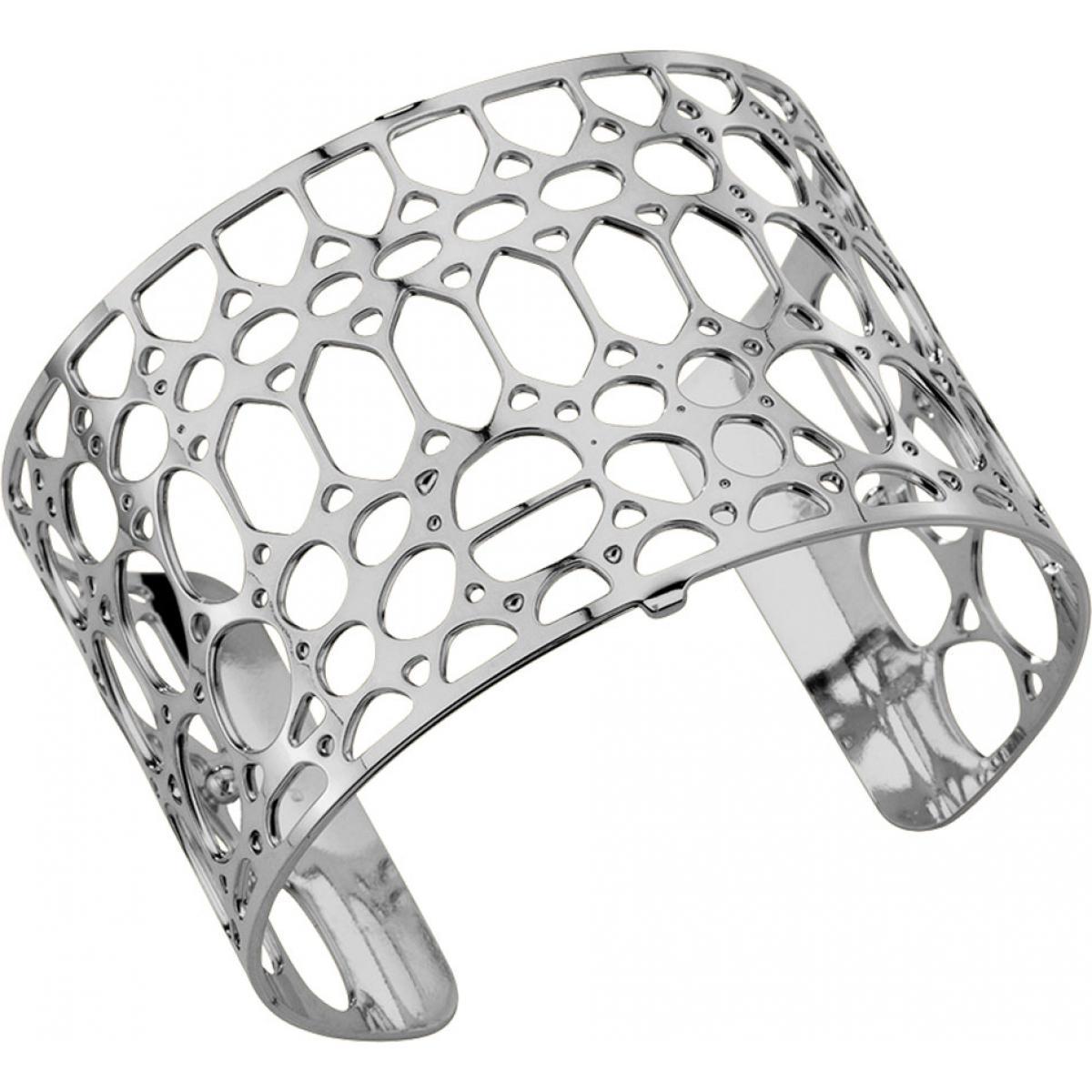 Bracelet Crocodile Les Georgettes 70196581600 - Bracelet Manchette Argent Taille Large Femme