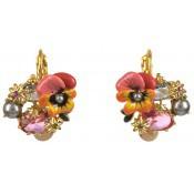 Boucles d'oreilles Roses Métal Doré Fleur - Les Néréides